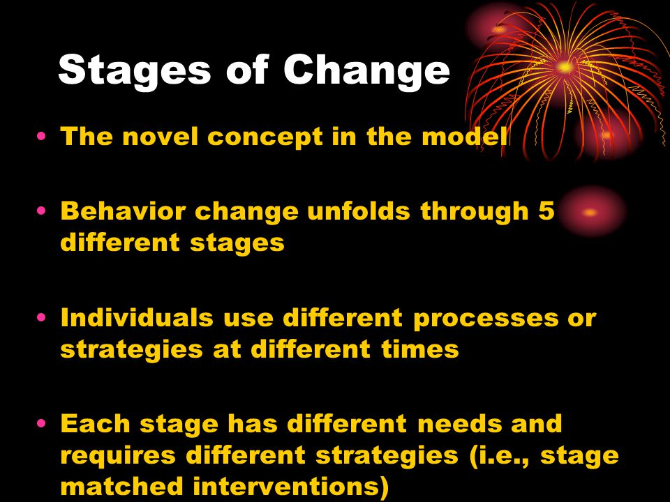 Stages of Change The novel concept in the model Behavior change unfolds through 5 different stages Individuals use different processes or strategies at different times Each stage has different needs and requires different strategies (i.e., stage matched interventions)