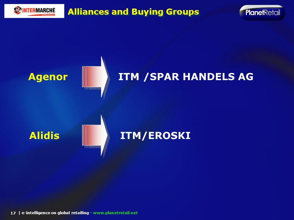 | e-intelligence on global retailing - www.planetretail.net Alliances and Buying Groups 17 Agenor ITM /SPAR HANDELS AG Alidis ITM/EROSKI