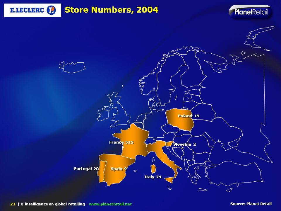 | e-intelligence on global retailing - www.planetretail.net 21 Source: Planet Retail Store Numbers, 2004 Portugal 20 Spain 9 Italy 24 France 515 Slove