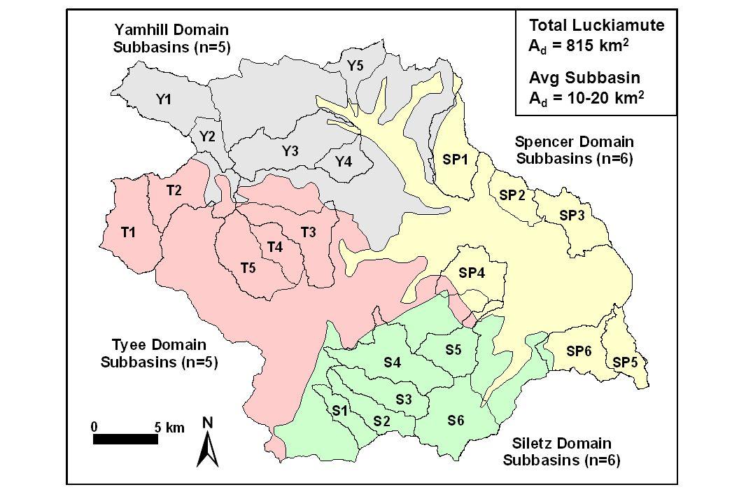 Total Luckiamute A d = 815 km 2 Avg Subbasin A d = 10-20 km 2