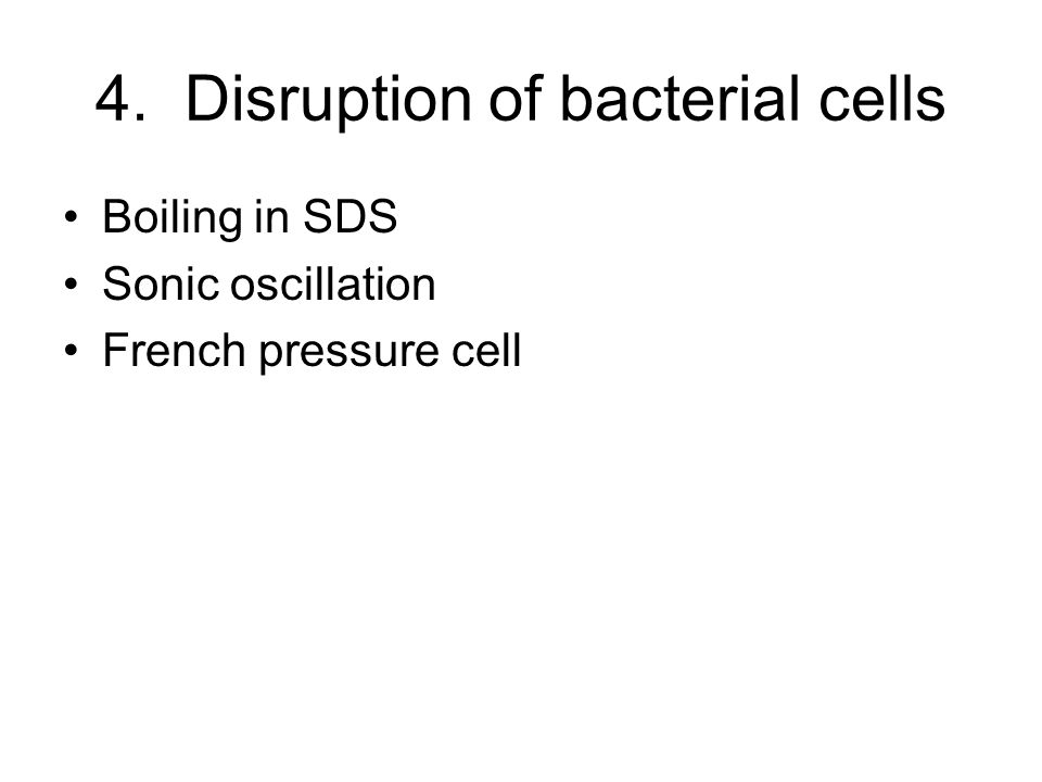 4. Disruption of bacterial cells Boiling in SDS Sonic oscillation French pressure cell