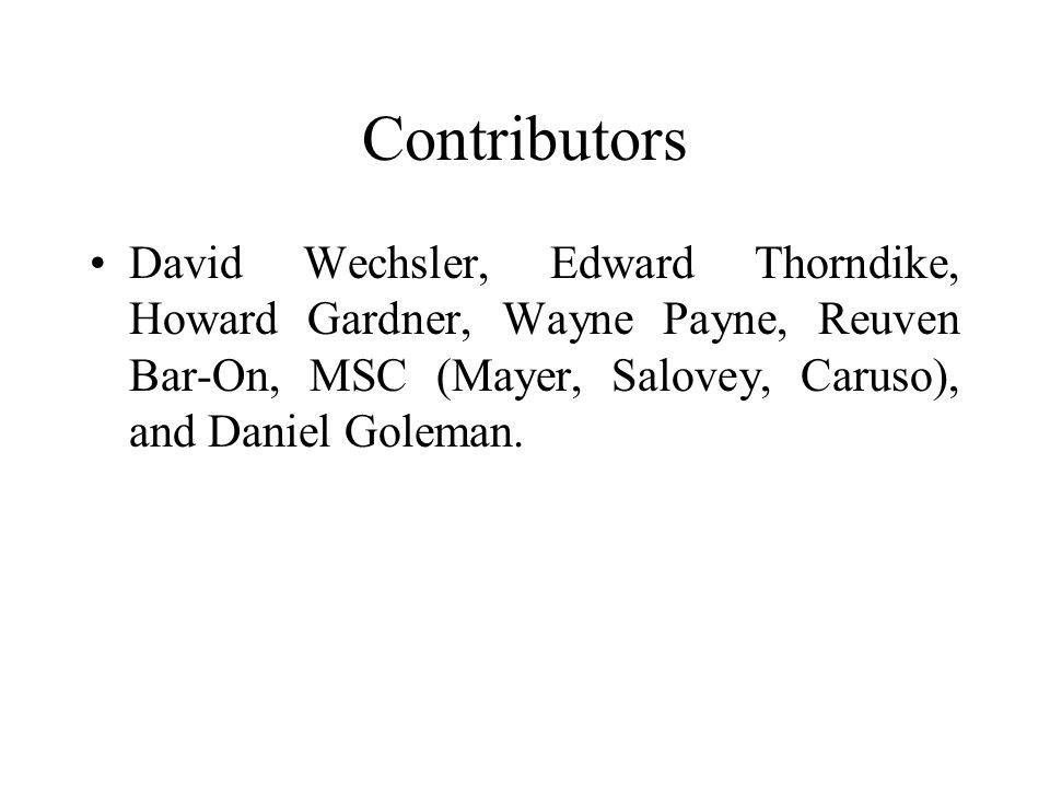 Contributors David Wechsler, Edward Thorndike, Howard Gardner, Wayne Payne, Reuven Bar-On, MSC (Mayer, Salovey, Caruso), and Daniel Goleman.