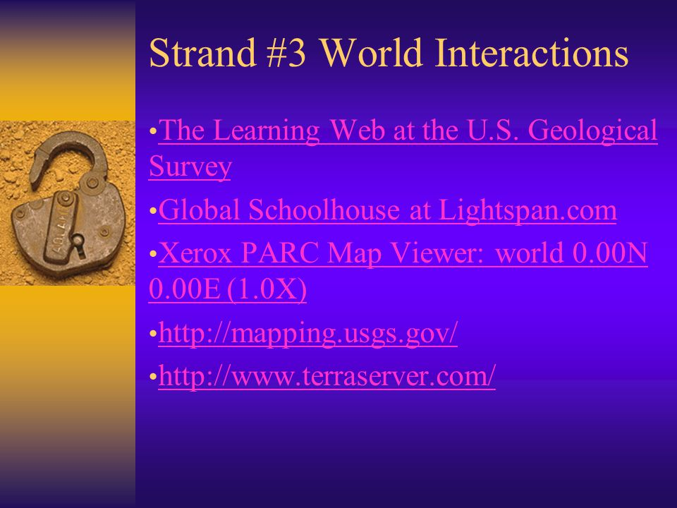 Strand #3 World Interactions The Learning Web at the U.S.
