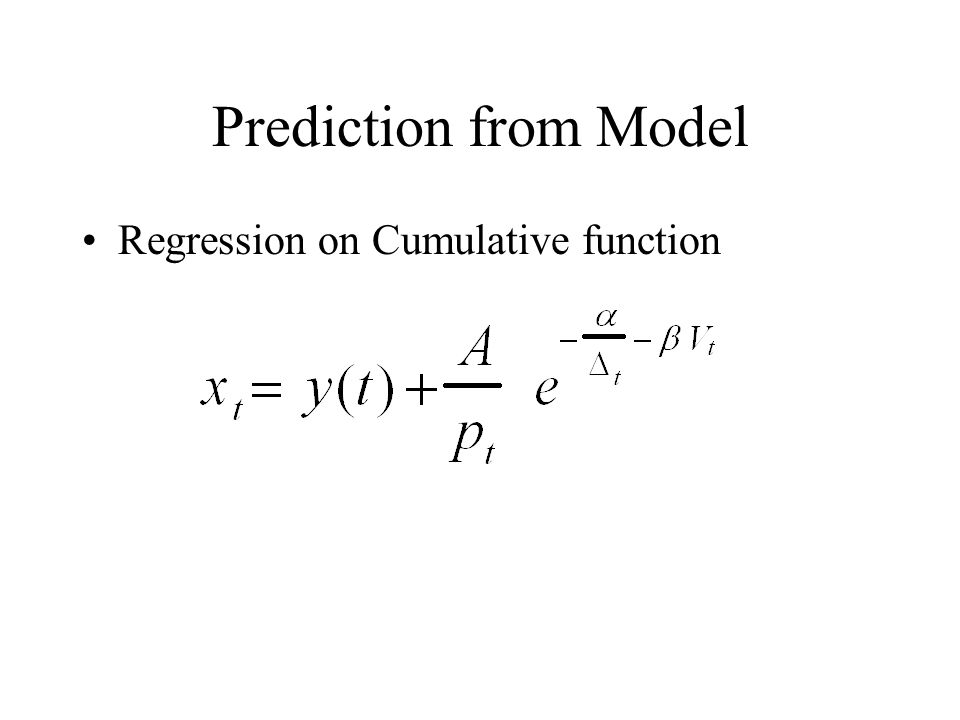 Prediction from Model Regression on Cumulative function