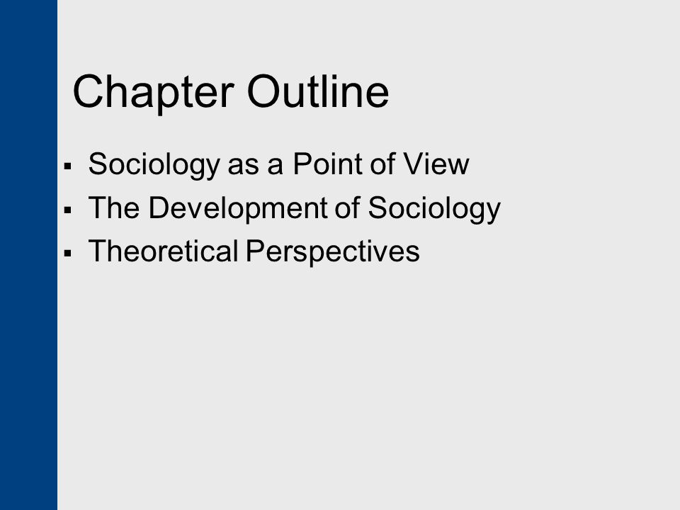 Chapter Outline  Sociology as a Point of View  The Development of Sociology  Theoretical Perspectives