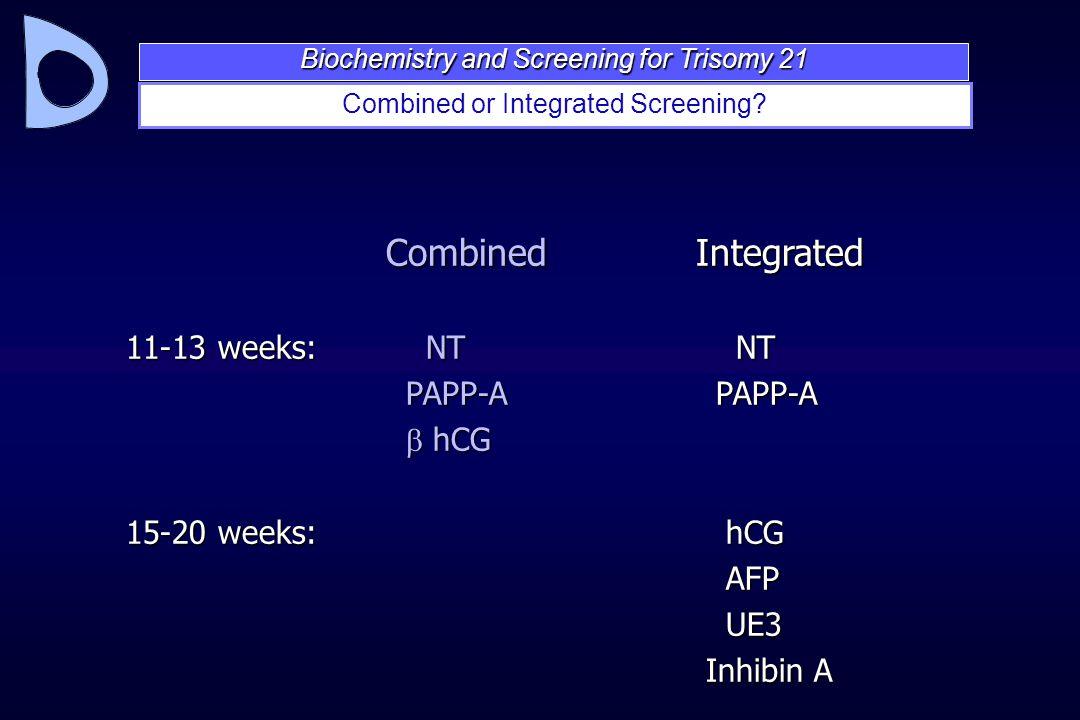 Combined or Integrated Screening? Combined Integrated 11-13 weeks: NT NT PAPP-A PAPP-A PAPP-A PAPP-A  hCG  hCG 15-20 weeks: hCG AFP AFP UE3 UE3 Inhi