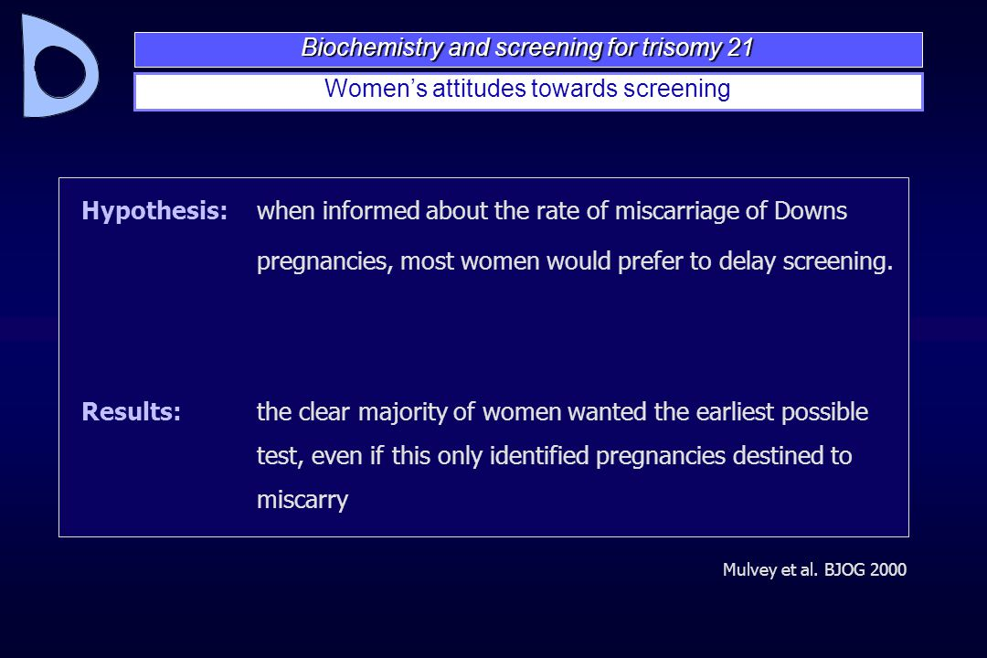 Mulvey et al. BJOG 2000 Hypothesis:when informed about the rate of miscarriage of Downs pregnancies, most women would prefer to delay screening. Resul