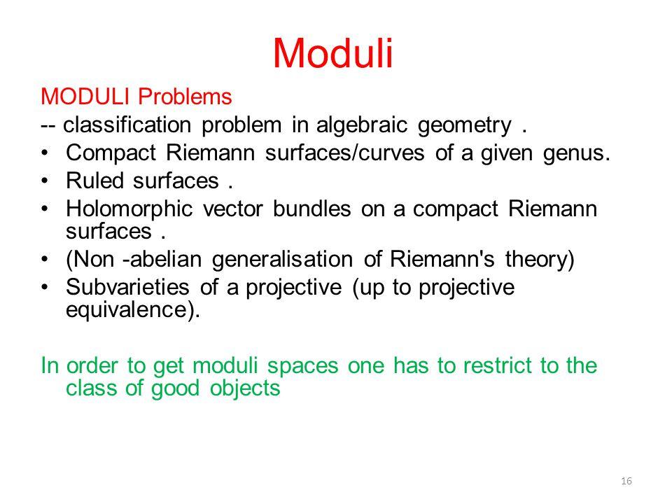 Moduli MODULI Problems -- classification problem in algebraic geometry.