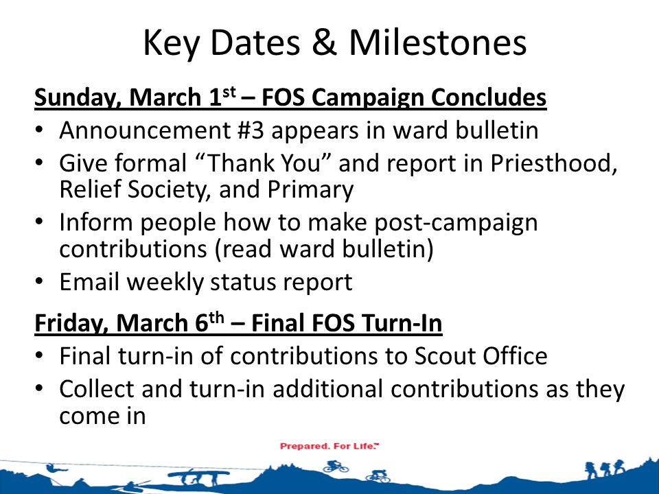 """Key Dates & Milestones Sunday, March 1 st – FOS Campaign Concludes Announcement #3 appears in ward bulletin Give formal """"Thank You"""" and report in Prie"""