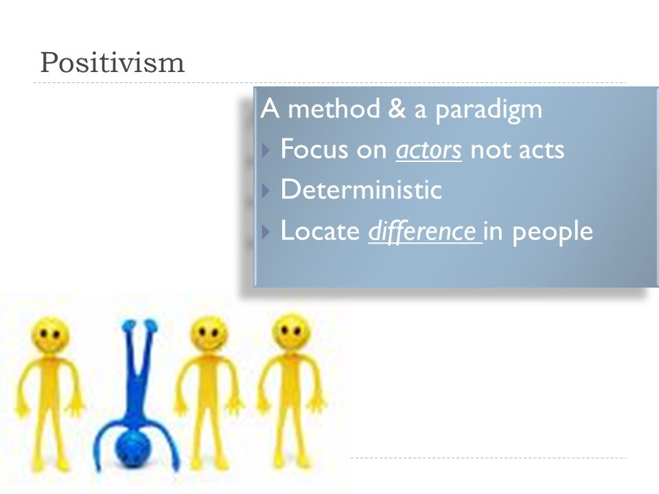 Positivism A method & a paradigm  Focus on actors not acts  Deterministic  Locate difference in people A method & a paradigm  Focus on actors not acts  Deterministic  Locate difference in people