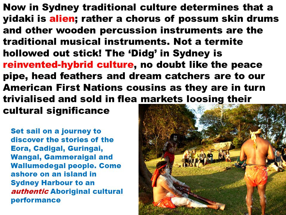 Now in Sydney traditional culture determines that a yidaki is alien; rather a chorus of possum skin drums and other wooden percussion instruments are the traditional musical instruments.
