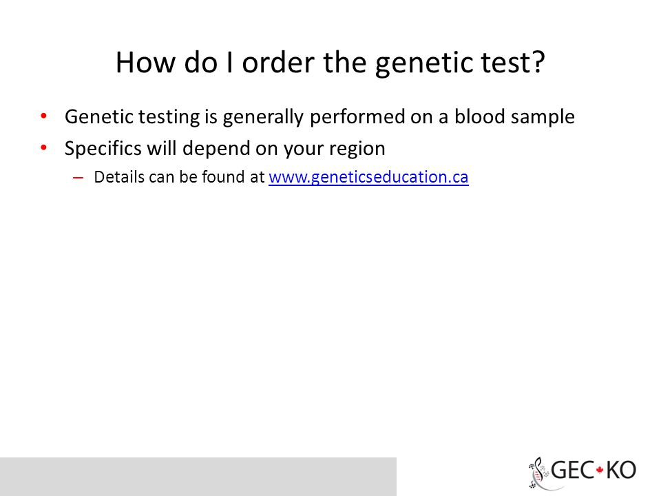 How do I order the genetic test.