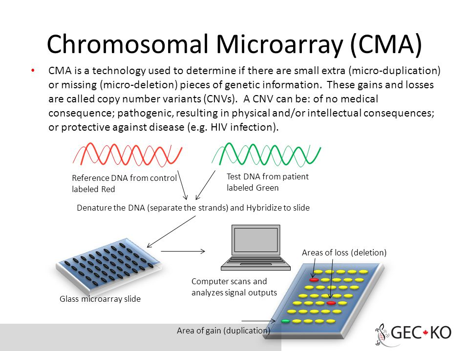 Chromosomal Microarray (CMA) CMA is a technology used to determine if there are small extra (micro-duplication) or missing (micro-deletion) pieces of genetic information.