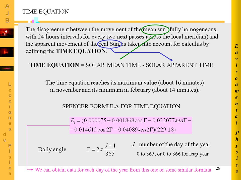 29 TIME EQUATION The disagreement between the movement of the mean sun (fully homogeneous, with 24-hours intervals for every two next passes across th