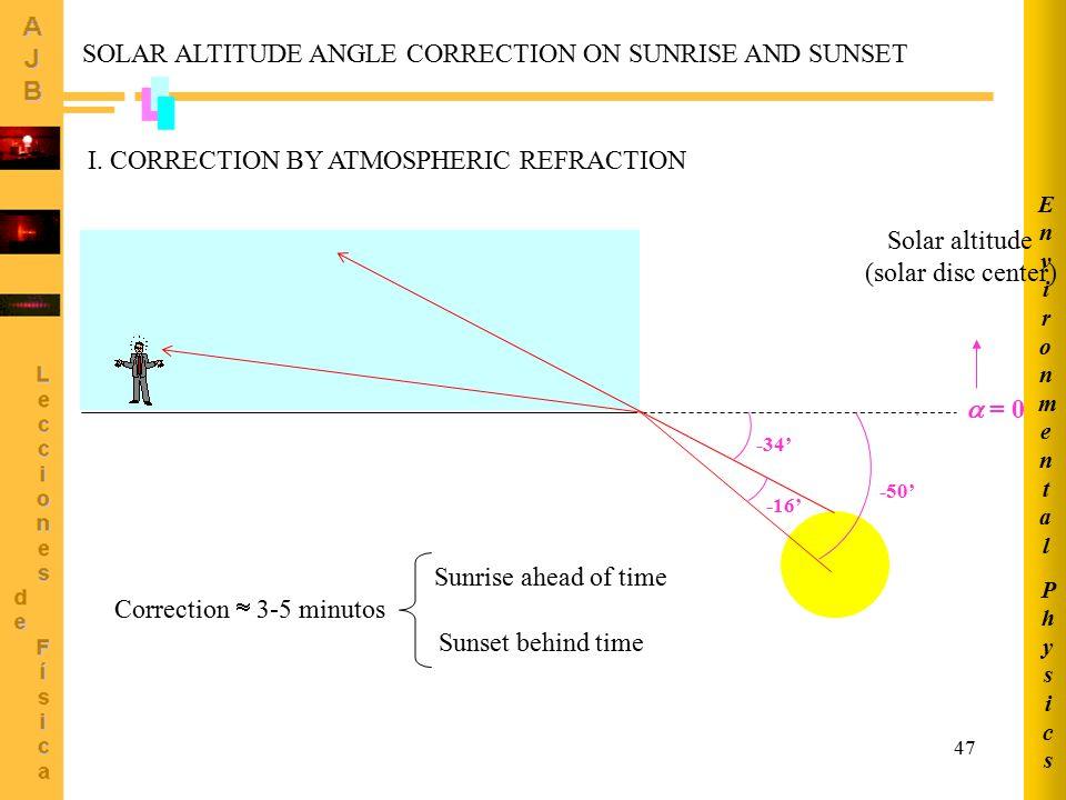 47 PhysicsPhysics EnvironmentalEnvironmental -16' SOLAR ALTITUDE ANGLE CORRECTION ON SUNRISE AND SUNSET  = 0 -16' -34' -50' Correction  3-5 minutos Sunrise ahead of time Sunset behind time Solar altitude (solar disc center) I.