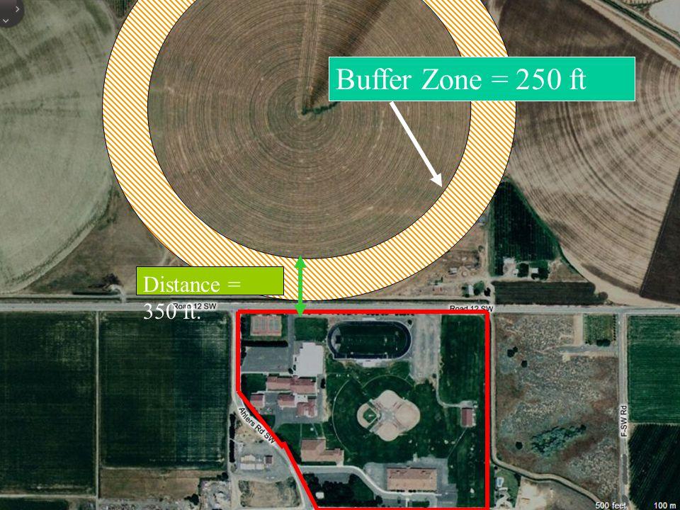 Buffer Zone = 250 ft Distance = 350 ft.