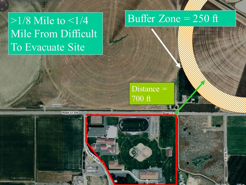 Buffer Zone = 250 ft Distance = 700 ft >1/8 Mile to <1/4 Mile From Difficult To Evacuate Site