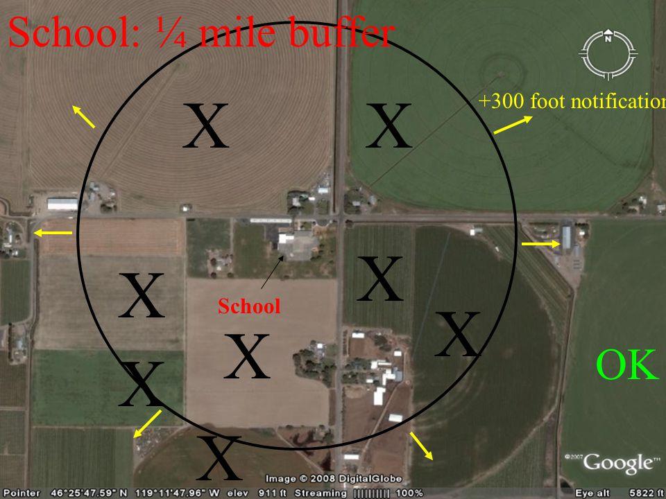 School XX X X X X X School: ¼ mile buffer X OK +300 foot notification