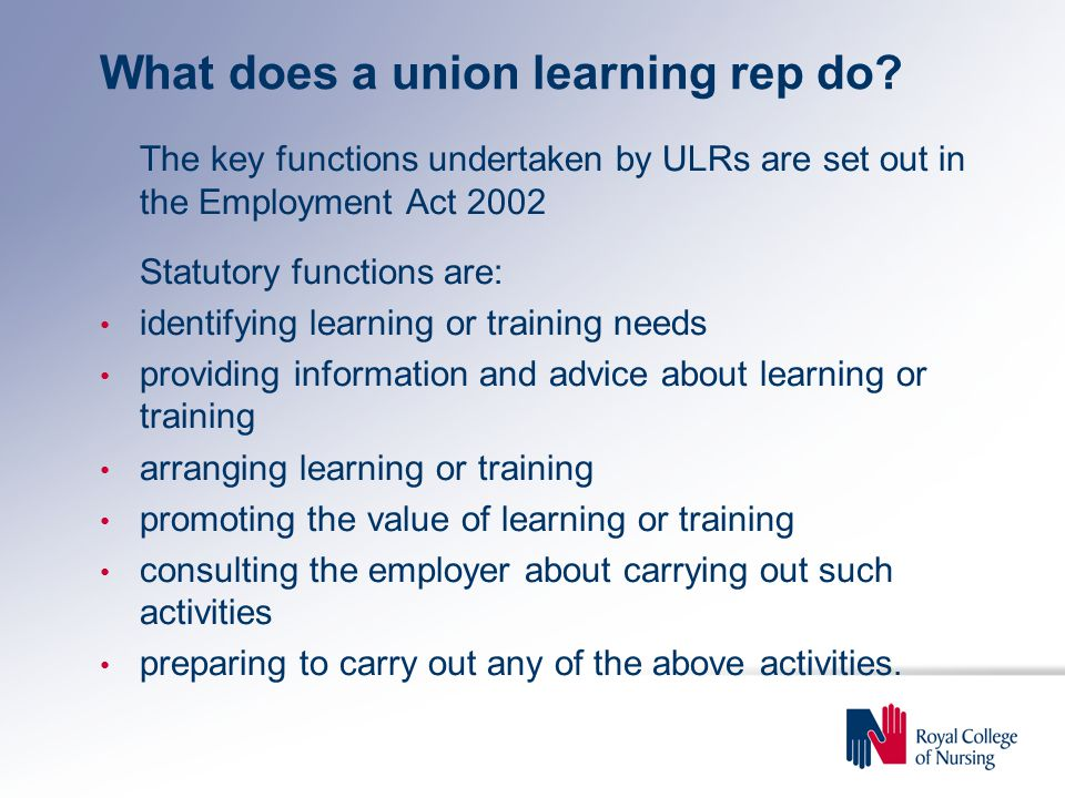 What does a union learning rep do.