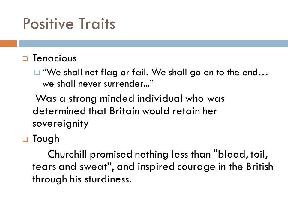 Positive Traits  Tenacious  We shall not flag or fail.