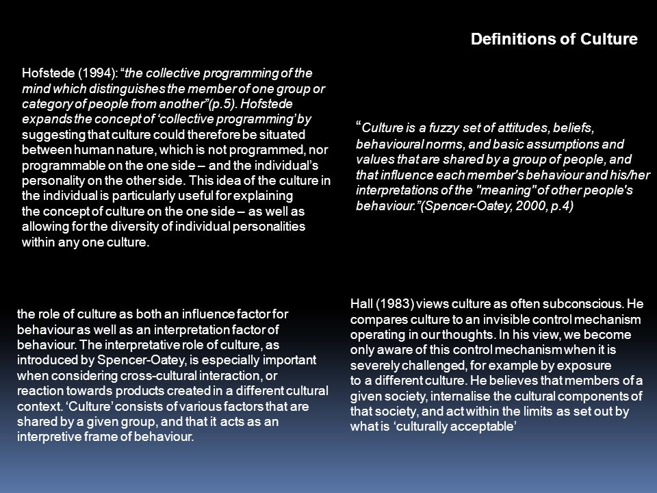"""Definitions of Culture """" Culture is a fuzzy set of attitudes, beliefs, behavioural norms, and basic assumptions and values that are shared by a group"""