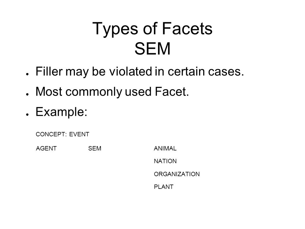 Types of Facets SEM ● Filler may be violated in certain cases.