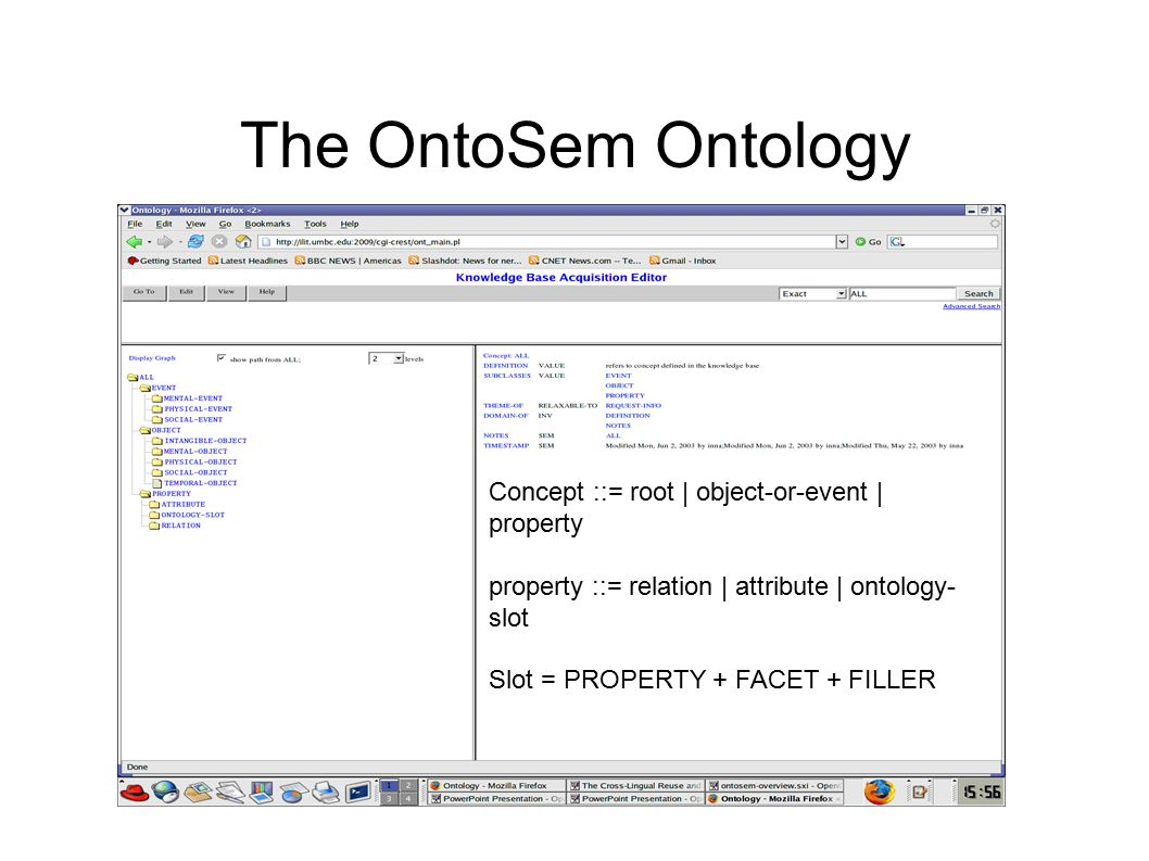 The OntoSem Ontology Concept ::= root | object-or-event | property property ::= relation | attribute | ontology- slot Slot = PROPERTY + FACET + FILLER