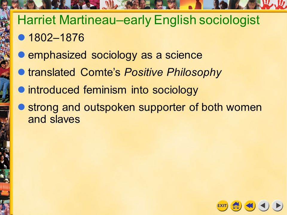 14 Chapter 11e Harriet Martineau–early English sociologist 1802–1876 emphasized sociology as a science translated Comte's Positive Philosophy introduc
