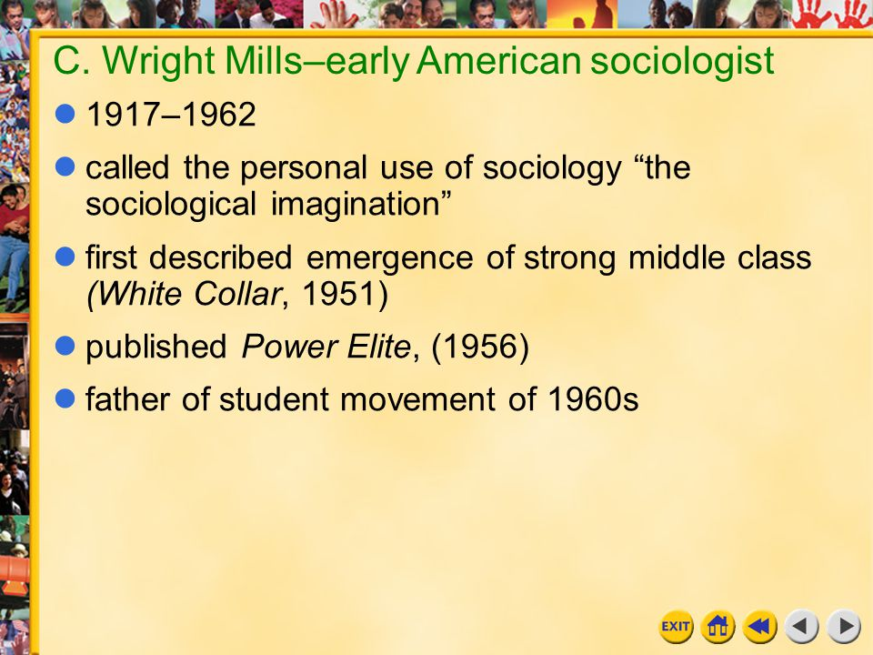 """16 Chapter 11g C. Wright Mills–early American sociologist 1917–1962 called the personal use of sociology """"the sociological imagination"""" first describe"""