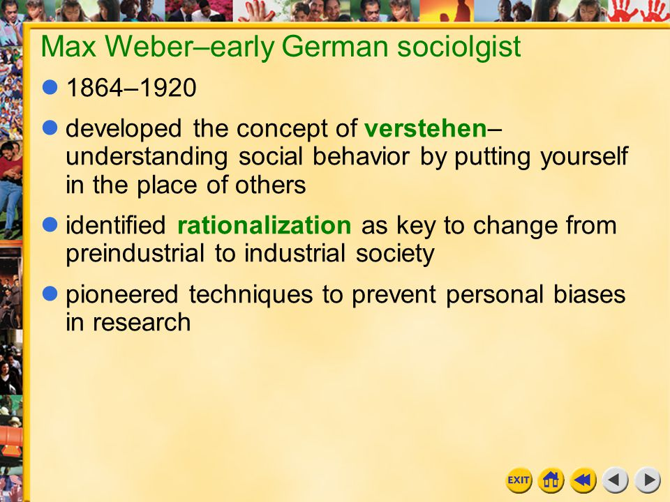 18 Chapter 11i Max Weber–early German sociolgist 1864–1920 developed the concept of verstehen– understanding social behavior by putting yourself in th