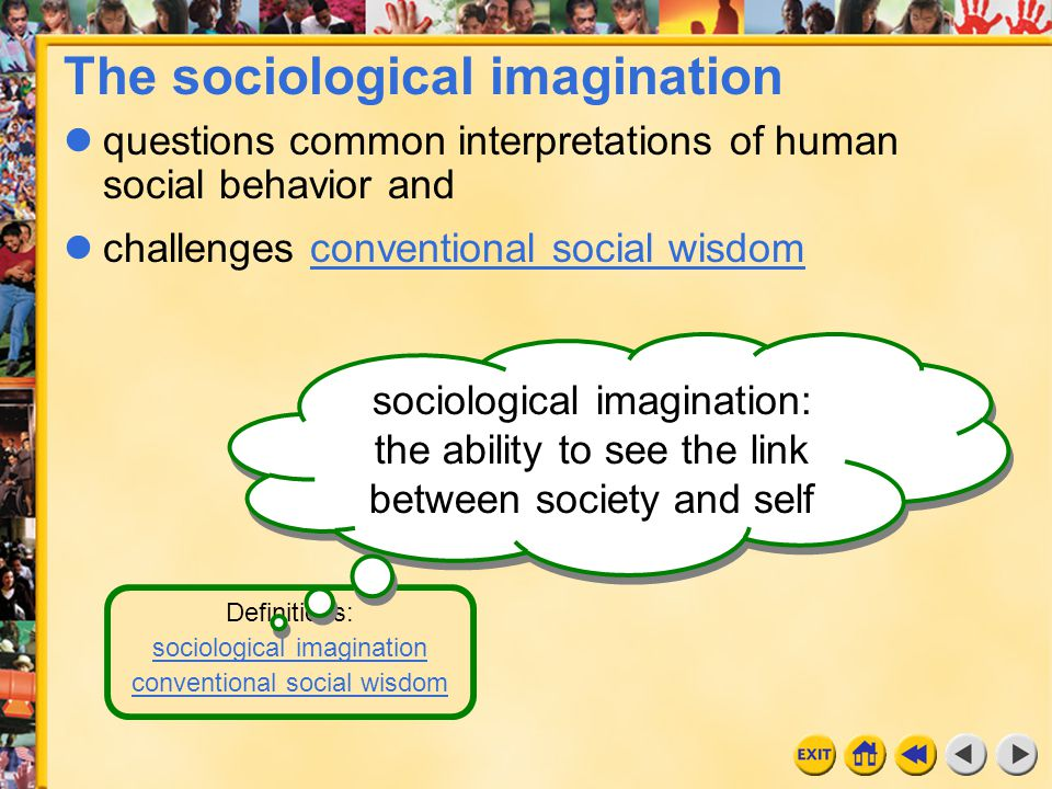 4 Chapter 4c Definitions: sociological imagination conventional social wisdom conventional social wisdom: ideas people assume are true The sociological imagination questions common interpretations of human social behavior and challenges conventional social wisdomconventional social wisdom