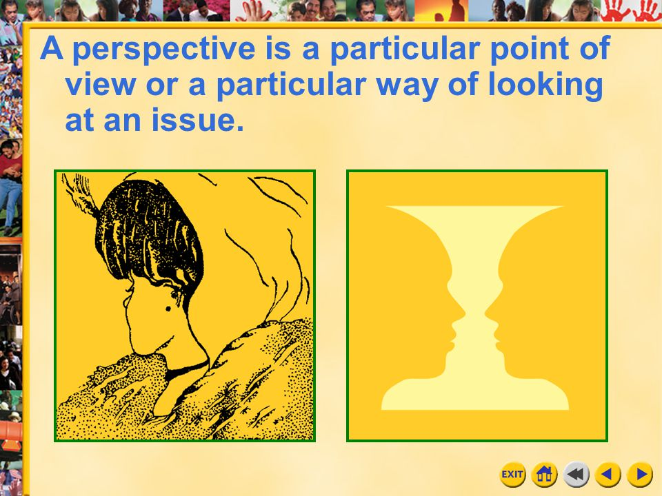 6 Chapter 5 A perspective is a particular point of view or a particular way of looking at an issue.