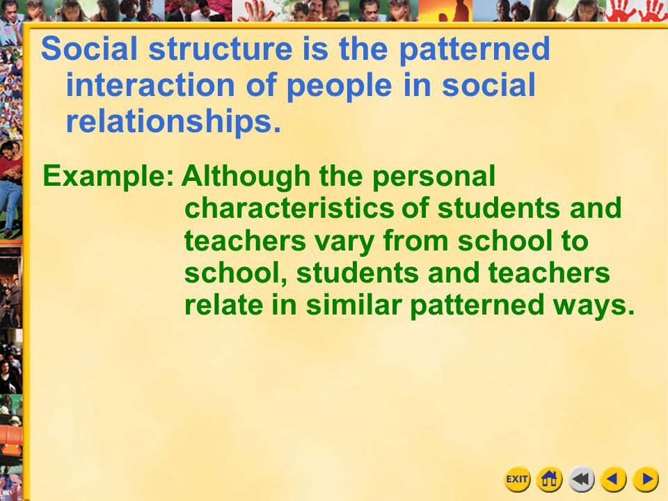7 Chapter 8 Social structure is the patterned interaction of people in social relationships. Example: Although the personal characteristics of student
