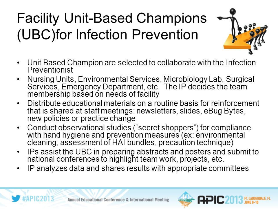 Facility Unit-Based Champions (UBC)for Infection Prevention Unit Based Champion are selected to collaborate with the Infection Preventionist Nursing Units, Environmental Services, Microbiology Lab, Surgical Services, Emergency Department, etc.