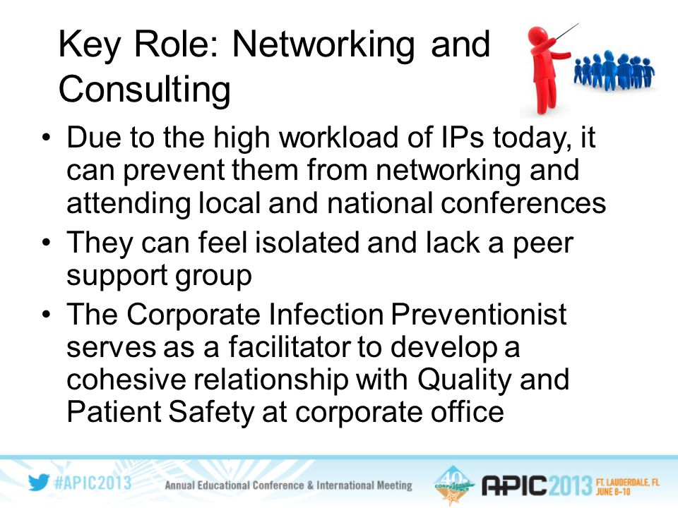 Key Role: Networking and Consulting Due to the high workload of IPs today, it can prevent them from networking and attending local and national conferences They can feel isolated and lack a peer support group The Corporate Infection Preventionist serves as a facilitator to develop a cohesive relationship with Quality and Patient Safety at corporate office