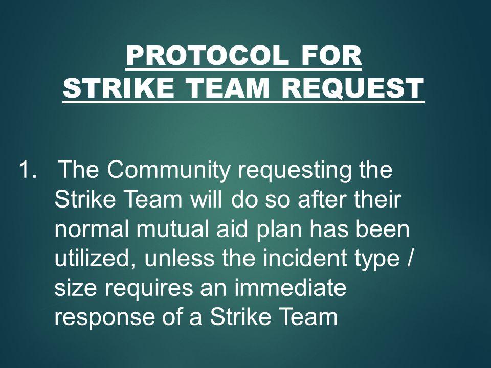 PROTOCOL FOR STRIKE TEAM REQUEST 1.