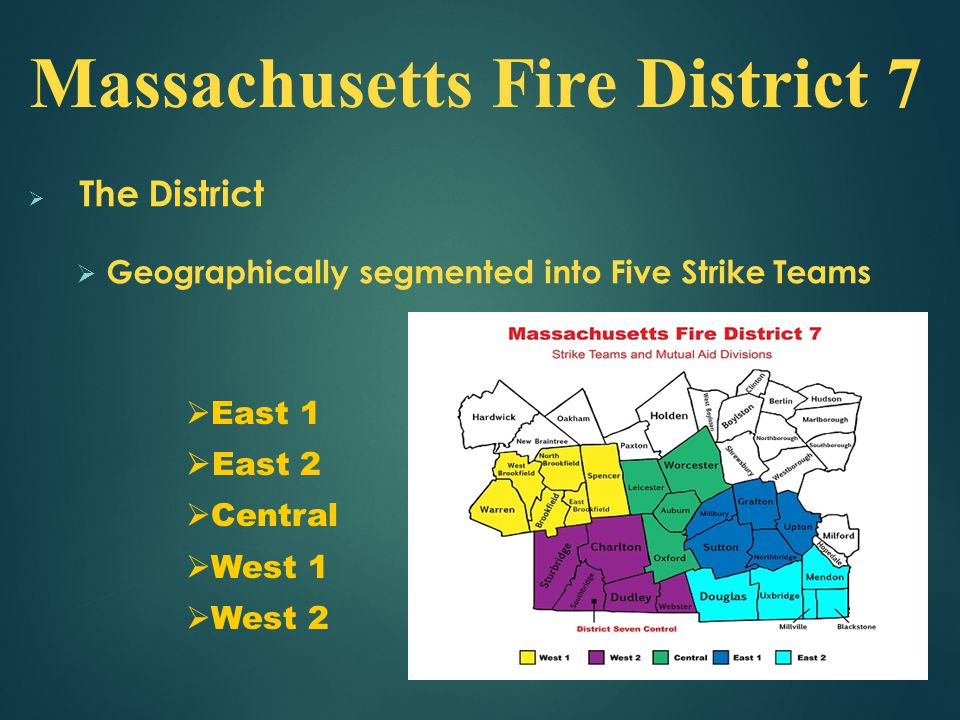  The District  Geographically segmented into Five Strike Teams Massachusetts Fire District 7  East 1  East 2  Central  West 1  West 2
