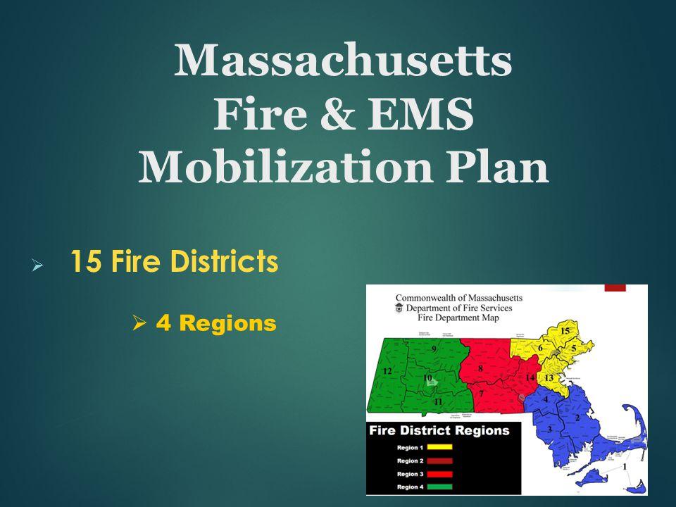  15 Fire Districts  4 Regions Massachusetts Fire & EMS Mobilization Plan