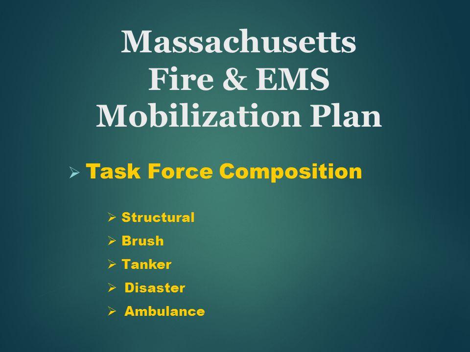  Task Force Composition  Structural  Brush  Tanker  Disaster  Ambulance Massachusetts Fire & EMS Mobilization Plan