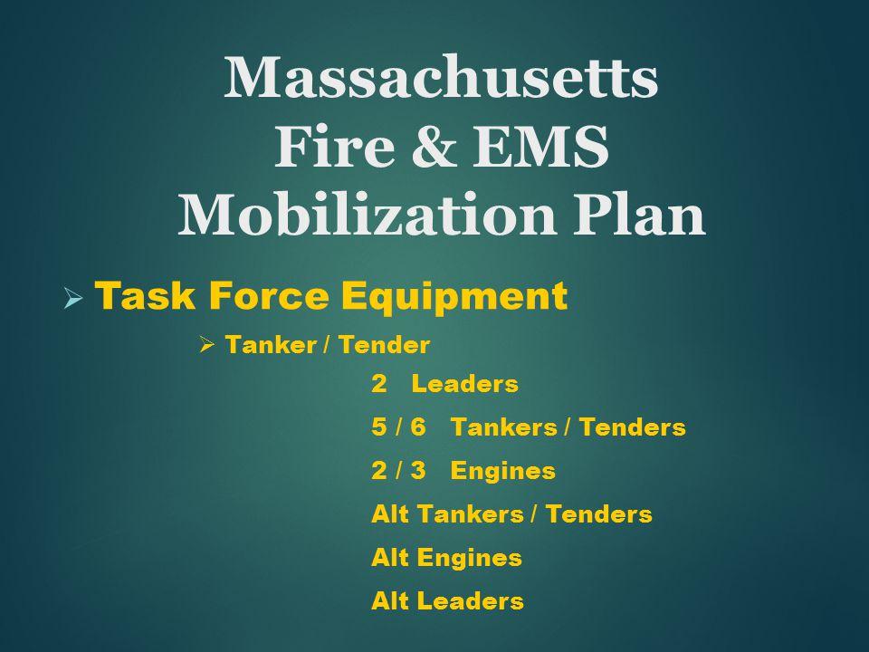  Task Force Equipment  Tanker / Tender 2 Leaders 5 / 6 Tankers / Tenders 2 / 3 Engines Alt Tankers / Tenders Alt Engines Alt Leaders Massachusetts Fire & EMS Mobilization Plan