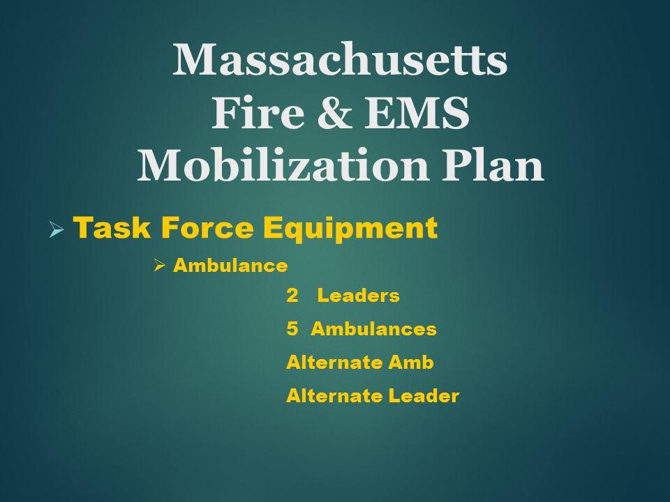  Task Force Equipment  Ambulance 2 Leaders 5 Ambulances Alternate Amb Alternate Leader Massachusetts Fire & EMS Mobilization Plan