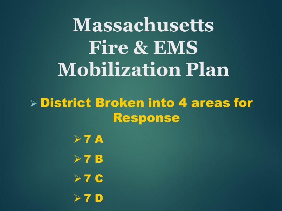 Massachusetts Fire & EMS Mobilization Plan  District Broken into 4 areas for Response  7 A  7 B  7 C  7 D