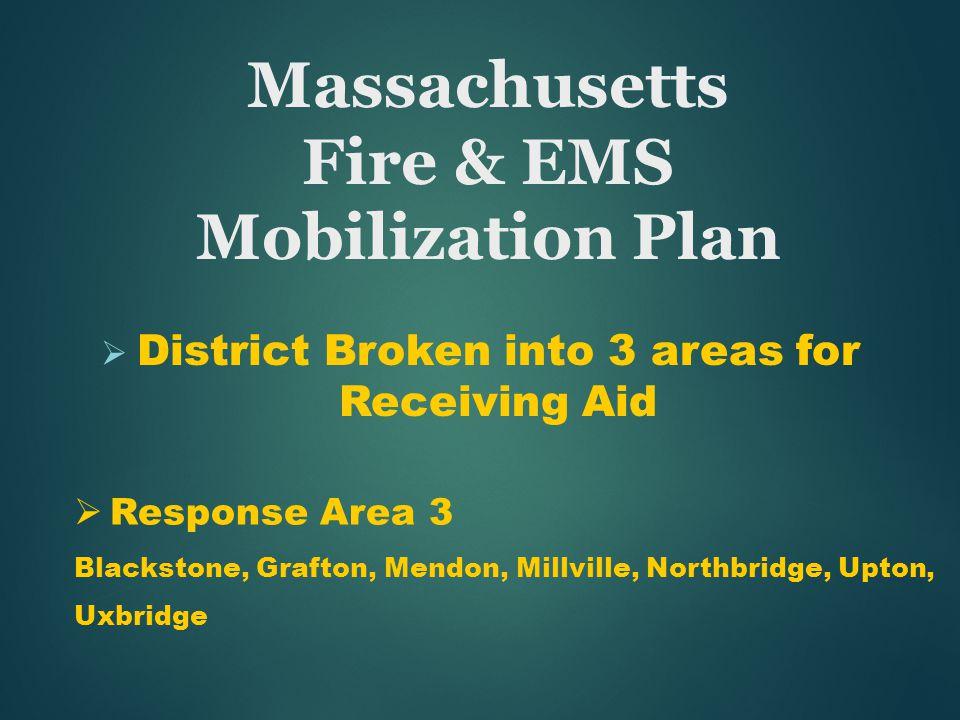 Massachusetts Fire & EMS Mobilization Plan  District Broken into 3 areas for Receiving Aid  Response Area 3 Blackstone, Grafton, Mendon, Millville, Northbridge, Upton, Uxbridge