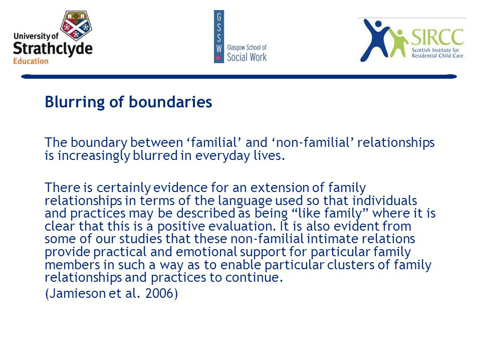 The boundary between 'familial' and 'non-familial' relationships is increasingly blurred in everyday lives.