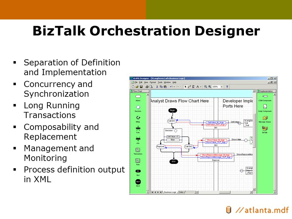 BizTalk Orchestration Designer  Separation of Definition and Implementation  Concurrency and Synchronization  Long Running Transactions  Composabi