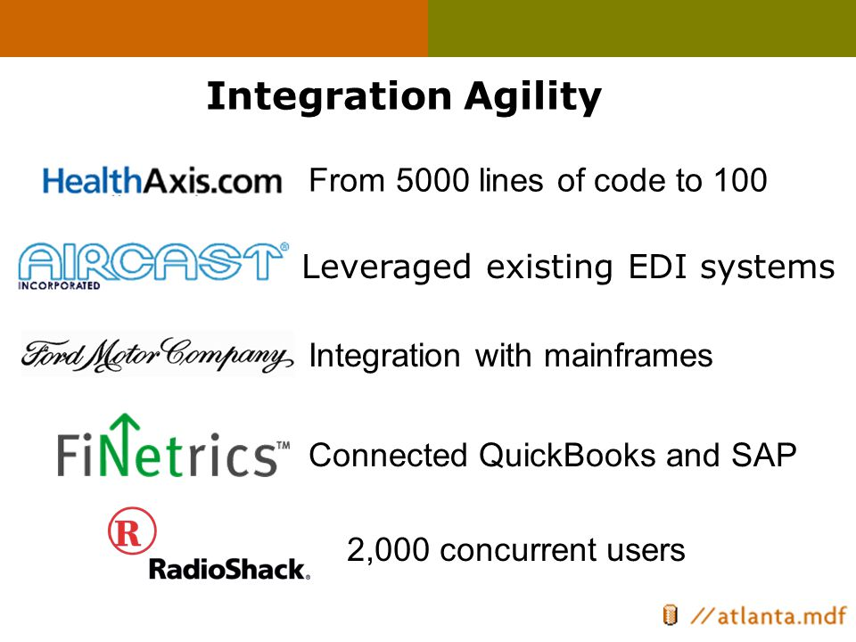 Leveraged existing EDI systems From 5000 lines of code to 100 Integration with mainframes Integration Agility Connected QuickBooks and SAP 2,000 concu