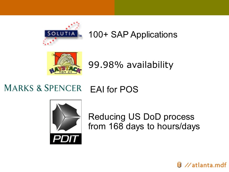 99.98% availability 100+ SAP Applications EAI for POS Reducing US DoD process from 168 days to hours/days