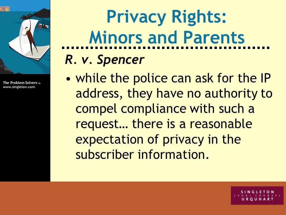 The Problem Solvers TM www.singleton.com Privacy Rights: Minors and Parents R.