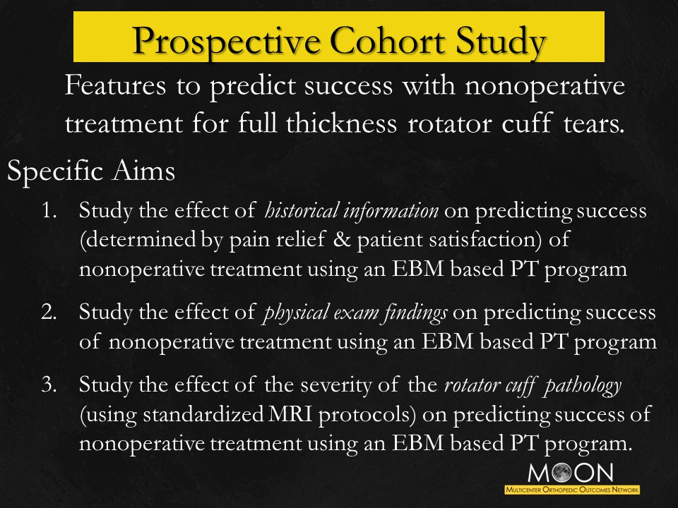Features to predict success with nonoperative treatment for full thickness rotator cuff tears.