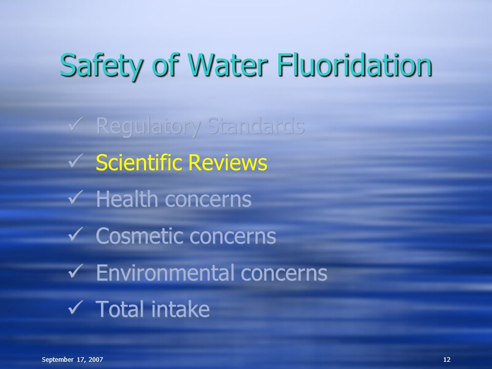 September 17, 200712 Safety of Water Fluoridation Regulatory Standards Scientific Reviews Health concerns Cosmetic concerns Environmental concerns Tot